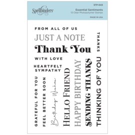 STP043 Spellbinders Clear Acrylic Stamps Essential Sentiments