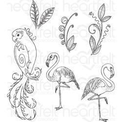 "389897 Heartfelt Creations Cling Rubber Stamp Set Tropical Paradise  5""X6.5"""