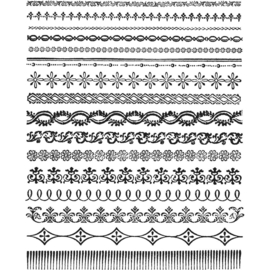 "CMS 326 Tim Holtz Cling Stamps Ornate Trims 7""X8.5"""