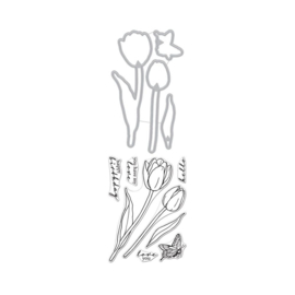 "620581 Hero Arts Clear Stamps 4""X6"" Hero Florals Tulips"