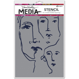 "466783 Dina Wakley Media Stencils Scribbled Faces 9""X6"""