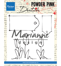 PP2801 Marianne Design Powder Pink Tulips & labels