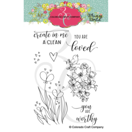 "653842  Colorado Craft Company Clear Stamps Clean Heart Bookmarks-Whimsy World 4""X6"""