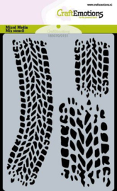 185070/0151 CraftEmotions Mask stencil Cars bandensporen A6 Carla Creaties