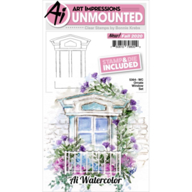 644034 Art Impressions Watercolor Clear Stamp & Die Set Ornate Window