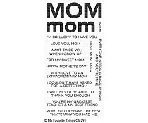 CS-291 My Favorite Things All About Mom Clear Stamps