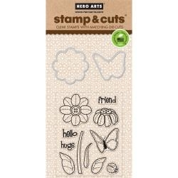 374095 Hero Arts Stamp & Cuts Butterfly & Flower