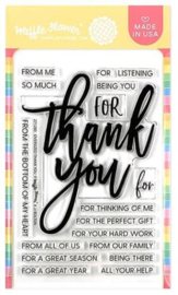 "605622 Waffle Flower Crafts Clear Stamps Oversized Thank You 4""X6"""