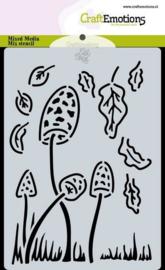 185070/0120 CraftEmotions Mask stencil Magic Forest - paddenstoelen Carla Creaties