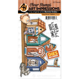 571610 Art Impressions Critter Cubbies Clear Stamp & Die Set Dog House