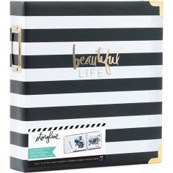 "380265 Heidi Swapp Storyline2 D-Ring Album Black Stripe 8.5""X11"""