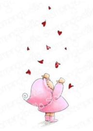 EB914 Stamping Bella Cling Stamps Bundle Girl With Falling Hearts