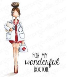 EB926 Stamping Bella Cling Stamps Curvy Girl Doctor