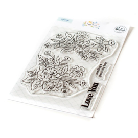 """PF120821 Pinkfresh Studio Clear Stamp Set Happy Blooms Floral 4""""X6"""""""