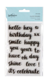 STP-002 Spellbinders Happy Sentiments Clear Stamps
