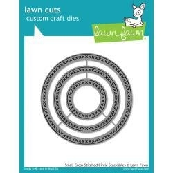 LF1181 Lawn Cuts Custom Craft Stackables Dies Small Cross Stitched Circle