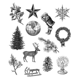 """CMS-LG 441Tim Holtz Cling Stamps Holiday Things 7""""X8.5"""""""