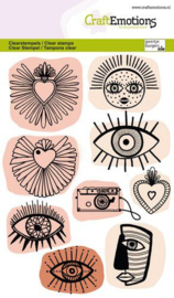 130501/1343 CraftEmotions clearstamps A6 Trendy iconen