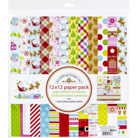 """644855 Doodlebug Double-Sided Paper Pack Night Before Christmas 12""""X12"""" 12/Pkg"""