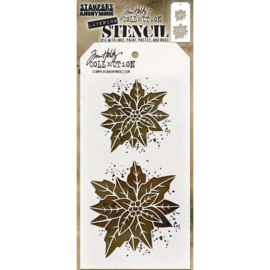 "THS 153 Tim Holtz Layered Stencil Poinsettia Due 4.125""X8.5"""