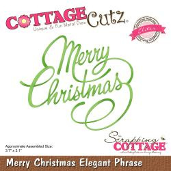 "540421 CottageCutz Elites Die Merry Christmas Elegant Phrase 3.7""X3.1"""