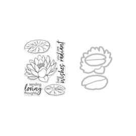 649303 Hero Arts Clear Stamp & Die Combo Hero Florals Lotus