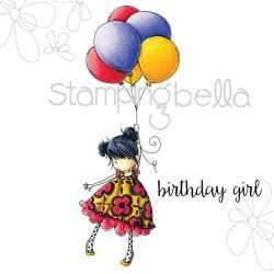 """489073 Stamping Bella Cling Rubber Stamp Tiny Townie Blossom Loves Balloons 6.5""""X4.5"""""""