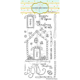 """C3AJ526 Colorado Craft Company Clear Stamps Gingerbread House-By Anita Jeram 4""""X8"""""""