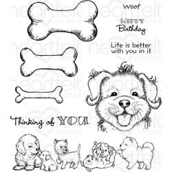 254847 Heartfelt Creations Cling Rubber Stamp Set Paw-Fect Pooches