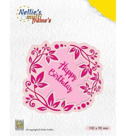 MFD112 Nellie's Choice Multi Frame Dies Flower wreath Happy Birthday