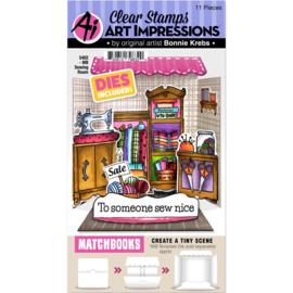 658927 Art Impressions Matchbooks Stamp & Die Set Sewing Room