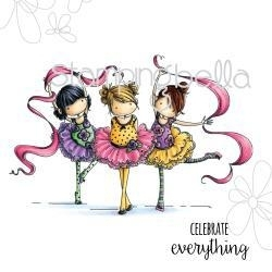 """489074 Stamping Bella Cling Rubber Stamp Tiny Townie Dancers Lia, Zia & Pia 6.5""""X4.5"""""""