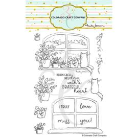 """652983 C3AJ451 Colorado Craft Company Clear Stamps New Day Windowsill-By Anita Jeram 4""""X6"""""""