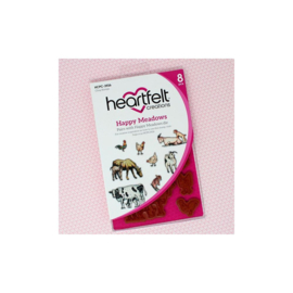 HCPC3926 Heartfelt Creations Cling Rubber Stamp Set Happy Meadows