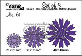 CLSet61 Crealies Set of 3 no. 61 dichte Bloemen
