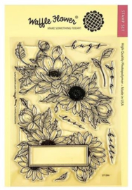 """614423 Waffle Flower Crafts Clear Stamp Sunflower Love 5""""X7"""""""