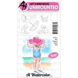 571629 Art Impressions Watercolor Cling Rubber Stamps Beach Girls