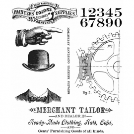 CMS 267 Tim Holtz Cling Stamps Dapper
