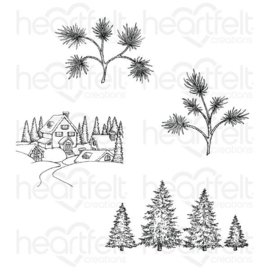 "521079 Heartfelt Creations Cling Rubber Stamp Set Snowy Pine Village 5""X6.5"""