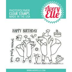 "557656 Avery Elle Clear Stamp Set Party Fox 4""X3"""
