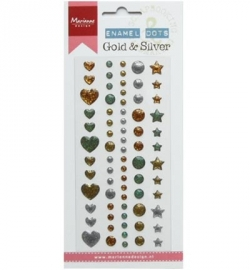 PL4510 Adhesive stickers/Dots Enamal dots  Gold & silver