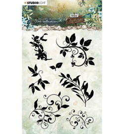 JMA-NA-STAMP21JMA Clear Stamp Silhouettes - leaves/swirls New Awakening nr.21