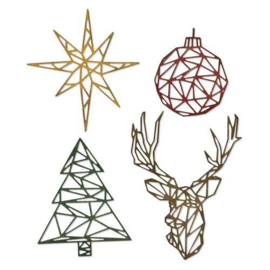 664202 Sizzix Thinlits Die Set 4PK Geo Christmas Tim Holtz