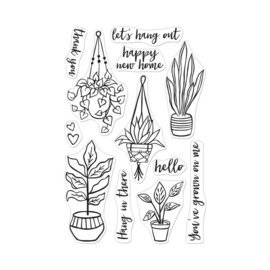 "573179 Hero Arts Clear Stamps 4""X6"" Hang In There Potted Plants"