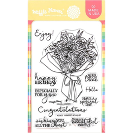 """657038 Waffle Flower Crafts Clear Stamps Wrapped Bouquet 4""""X6"""""""