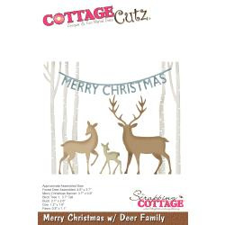 "540406 CottageCutz Die Merry Christmas W/Deer Family 1"" To 4.6"""