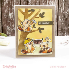 T4T/449/Bea/Cle Time For Tea Beavering Away Clear Stamps