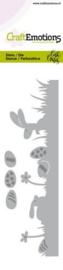 115633/0755 CraftEmotions Die Bunny 1 grasrand met eieren Card 5x15cm Carla Creaties