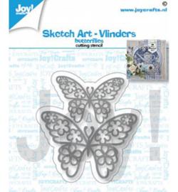 6002/1462 Snijstencil Sketch art-Vlinders
