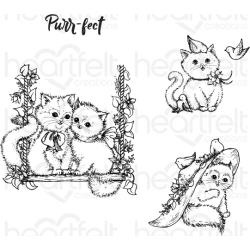 "588407 Heartfelt Creations Cling Rubber Stamp Set Purr-Fect Playdate .5"" To 3.5"""